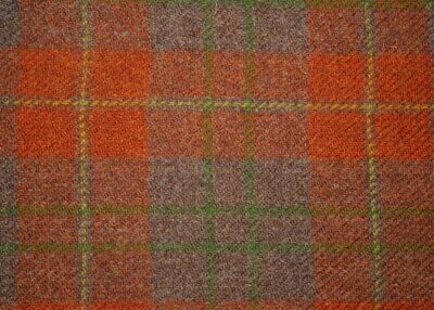 Orange Brown check Harris Tweed