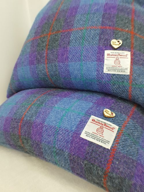 Purple Blue Grey Check Cushion Labels and Button