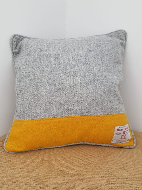 Yellow and Grey Piped Cushion